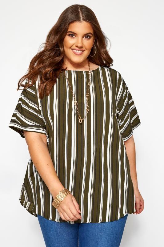 Khaki Striped Shell Top
