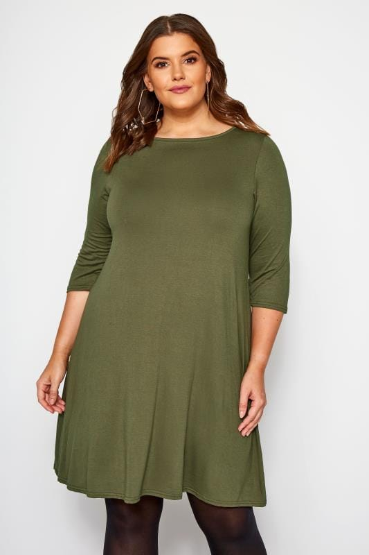 Plus Size Jersey Dresses Khaki Swing Dress