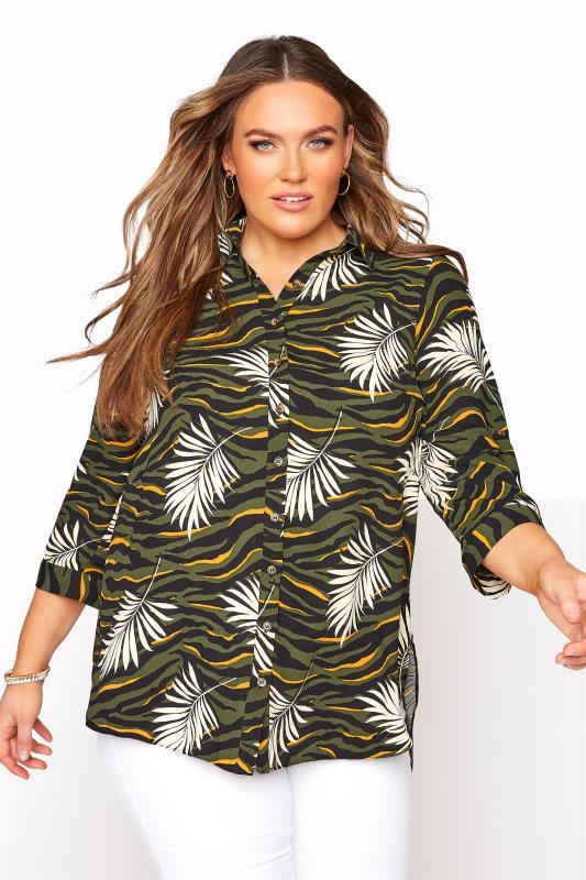 Plus Size  Khaki Tropical Print Longline Shirt