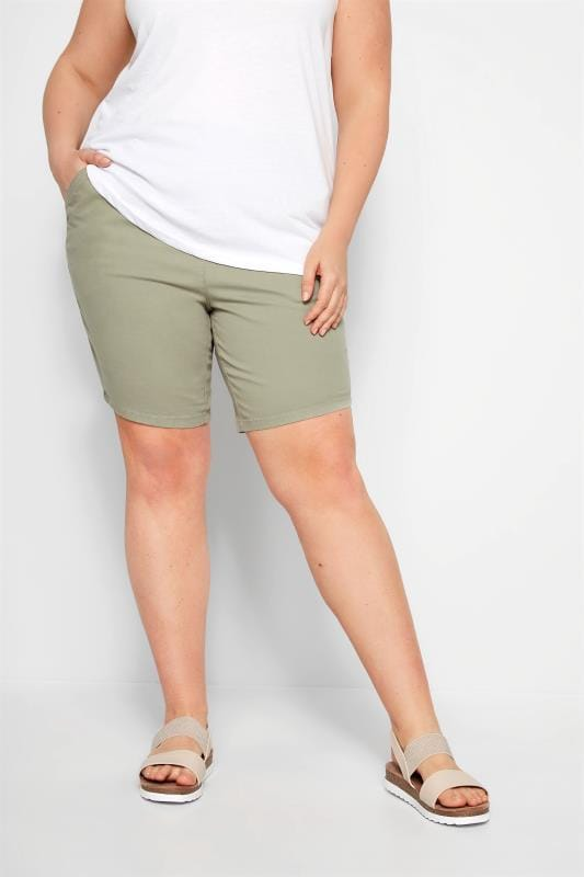 Plus Size Fashion Shorts Khaki Twill Stretch Shorts
