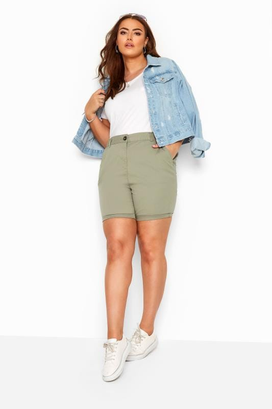 Plus Size Fashion Shorts Khaki Twill Stretch Shorts