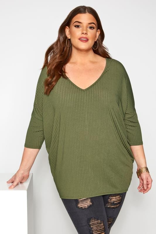 Plus Size Day Tops Khaki V-Neck Ribbed Top