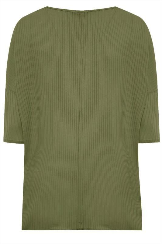 Khaki V-Neck Ribbed Top