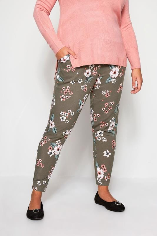 Khaki Woven Tropical Floral Tapered Trousers