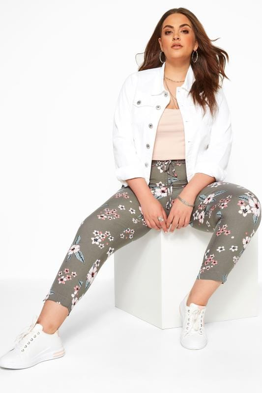 Plus Size Tapered & Slim Fit Trousers Khaki Woven Tropical Floral Tapered Trousers