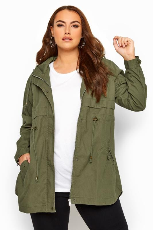 Plus Size Jackets Khaki Zip Through Jacket
