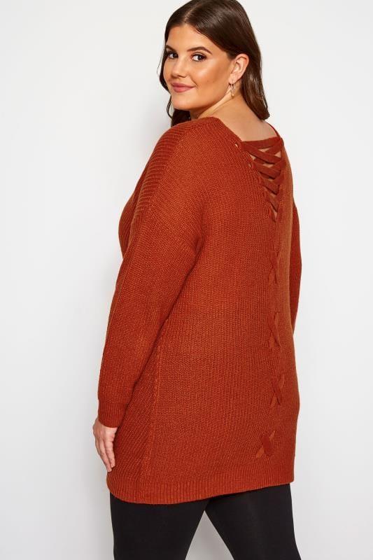 Plus Size Jumpers Burnt Orange Lace Back Jumper