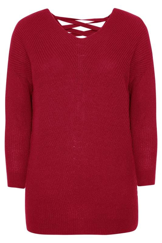 Raspberry Pink Lace Back Jumper