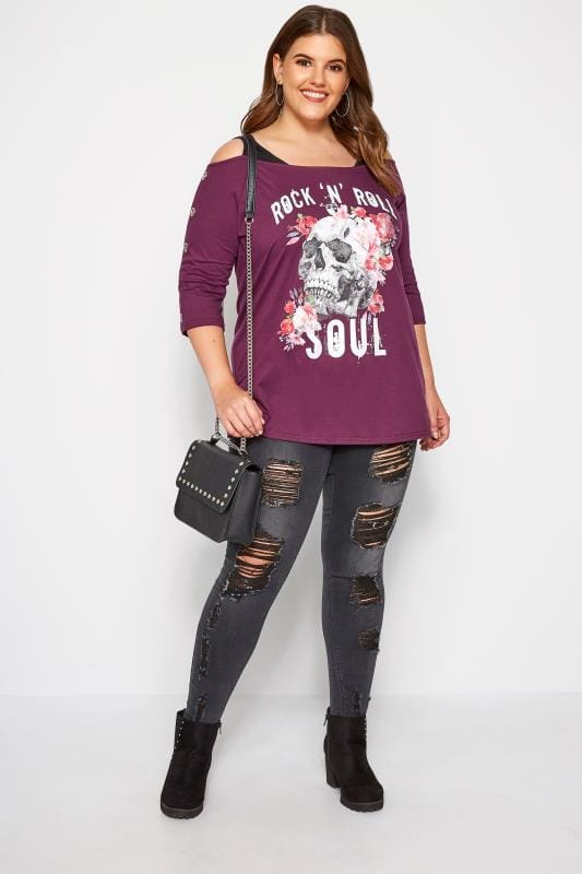 Purple Cold Shoulder Slogan Top