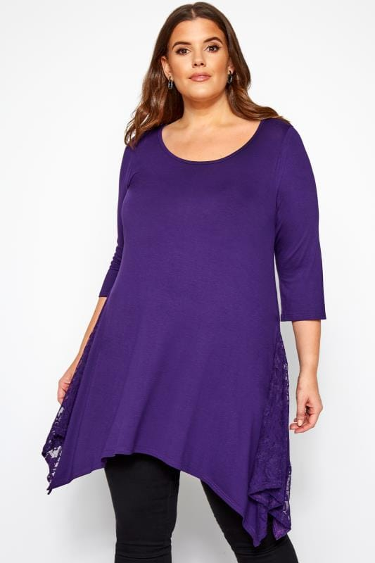 Plus Size Jersey Tops Purple Floral Lace Insert Top