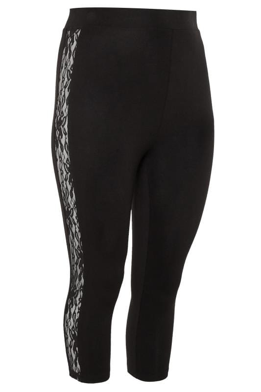 Black Lace Insert Cropped Leggings