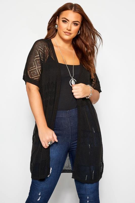 Plus Size Cardigans Black Fine Knit Long Cardigan