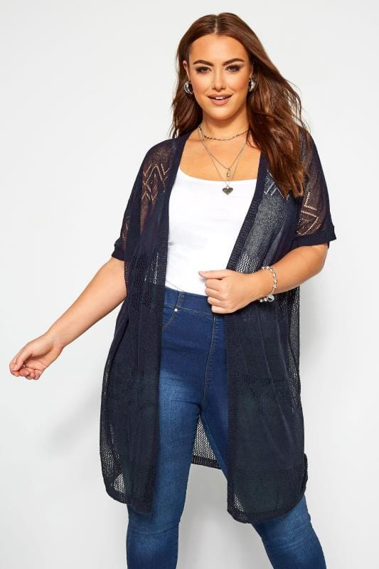 Plus Size Cardigans Navy Fine Knit Long Cardigan