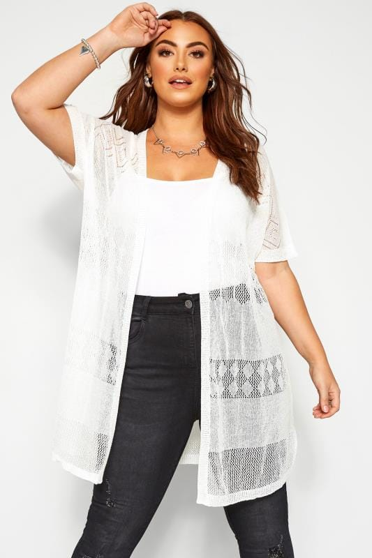 Plus Size Cardigans White Fine Knit Long Cardigan
