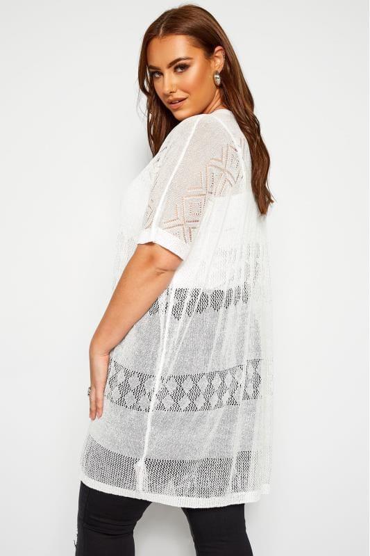 White Fine Knit Long Cardigan