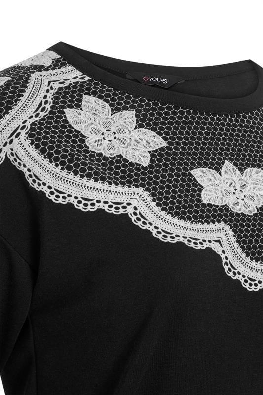 Black Floral Lace Print Sweatshirt