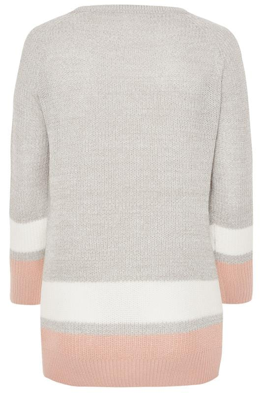 Grey Stripe Trims Knitted Jumper