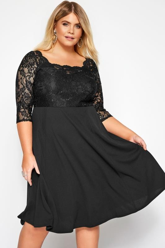 Plus Size Black Dresses Black Lace Sequin Embellished Scuba Dress