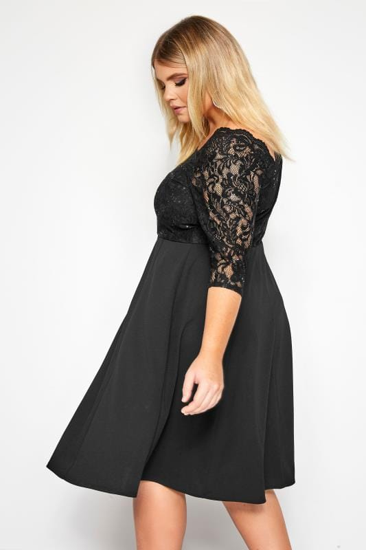 Black Lace Sequin Embellished Scuba Dress