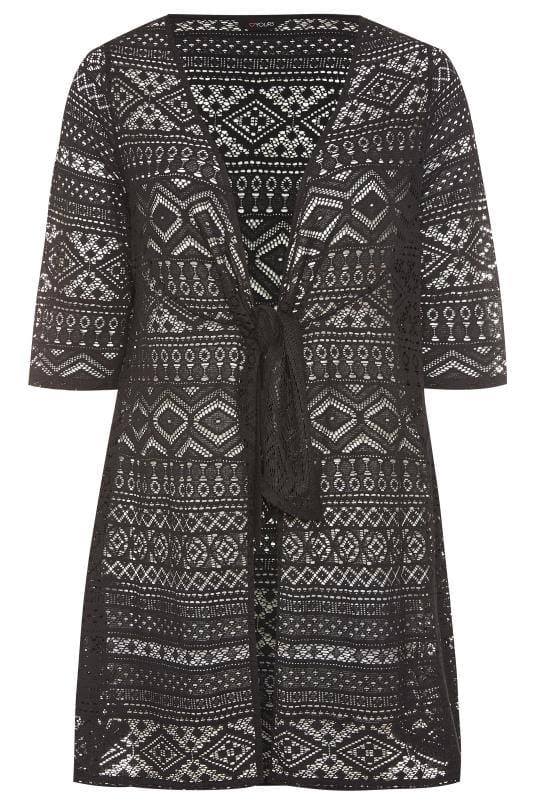 Black Crochet Tie Front Cover Up