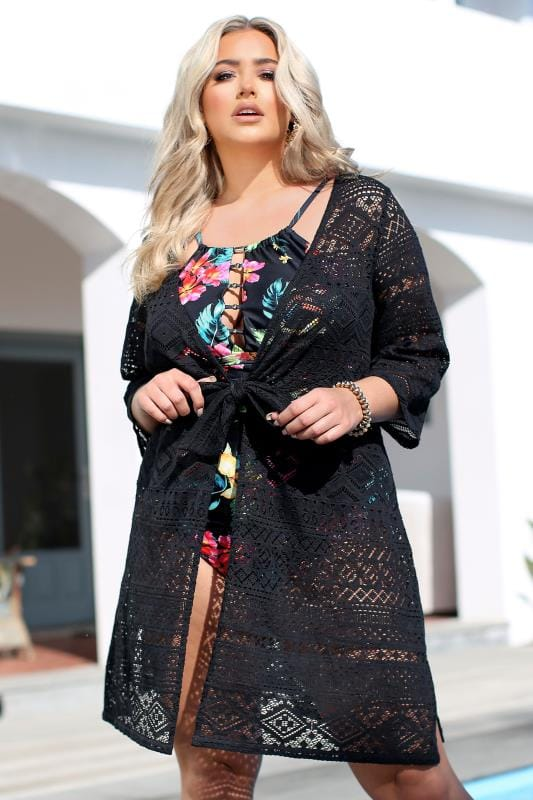 Plus Size Kimonos Black Crochet Tie Front Cover Up