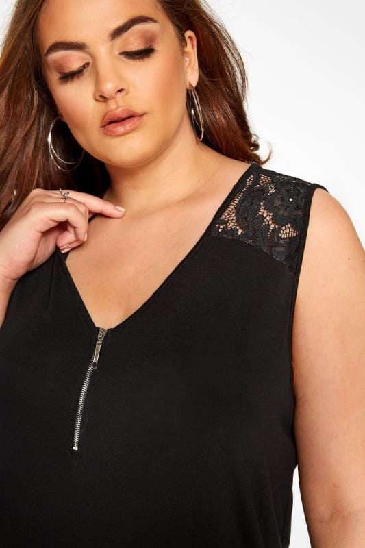 Black Lace Insert Zip Neck Top