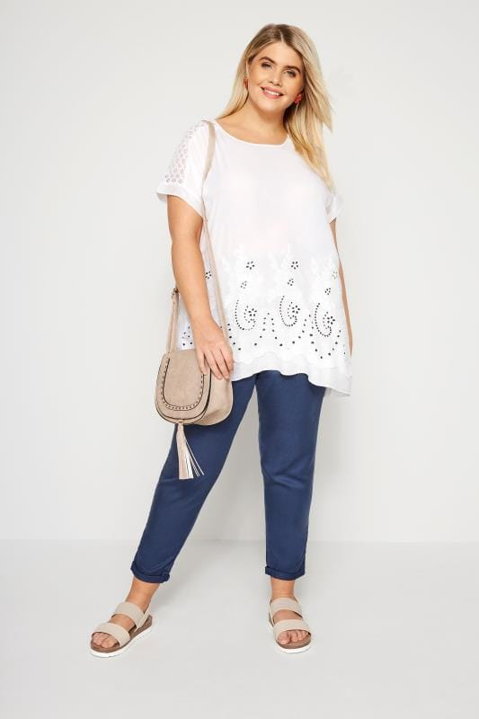 White Embroidered Sequin Blouse