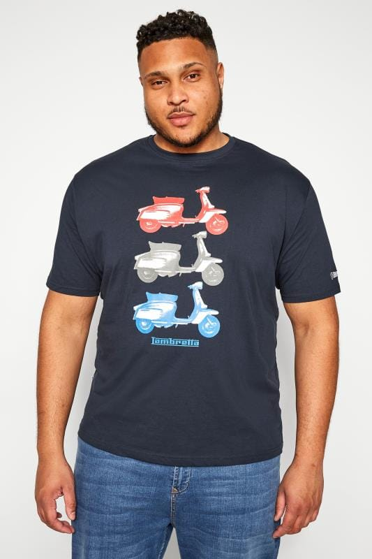 T-Shirts Grande Taille LAMBRETTA Navy Scooter Graphic Print T-Shirt