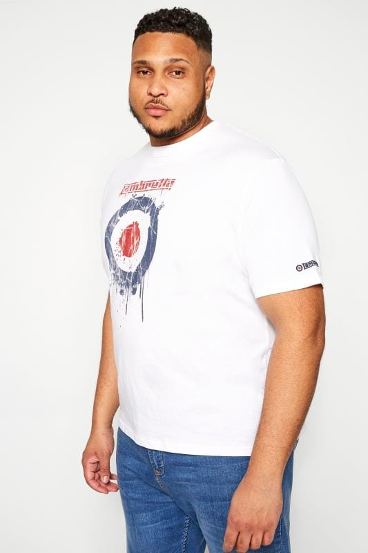 Plus-Größen T-Shirts LAMBRETTA White Logo Graphic Print T-Shirt