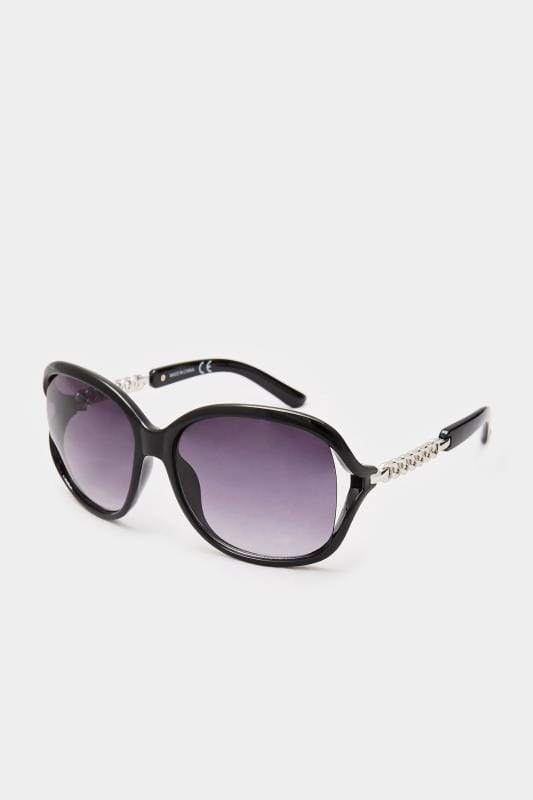 Sunglasses Black Oversized Silver Chain Sunglasses