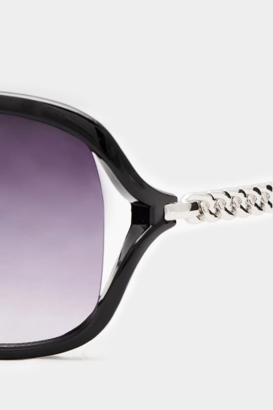Black Oversized Silver Chain Sunglasses