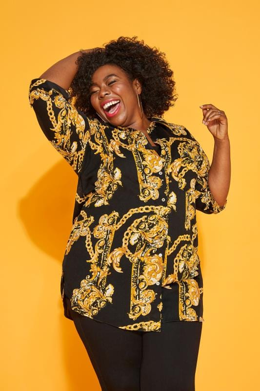Black & Gold Lattice Back Chain Print Boyfriend Shirt
