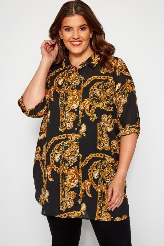 Plus Size Shirts Black & Gold Lattice Back Chain Print Boyfriend Shirt