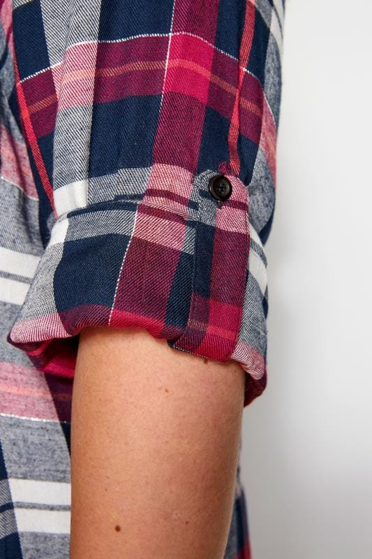 Pink & Navy Lace Up Side Check Shirt