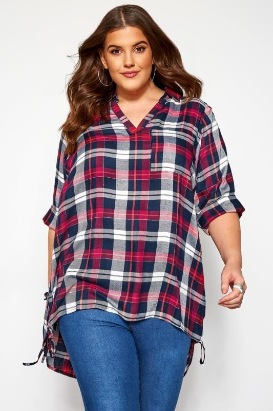 Plus Size Checked Shirts Pink & Navy Lace Up Side Check Shirt
