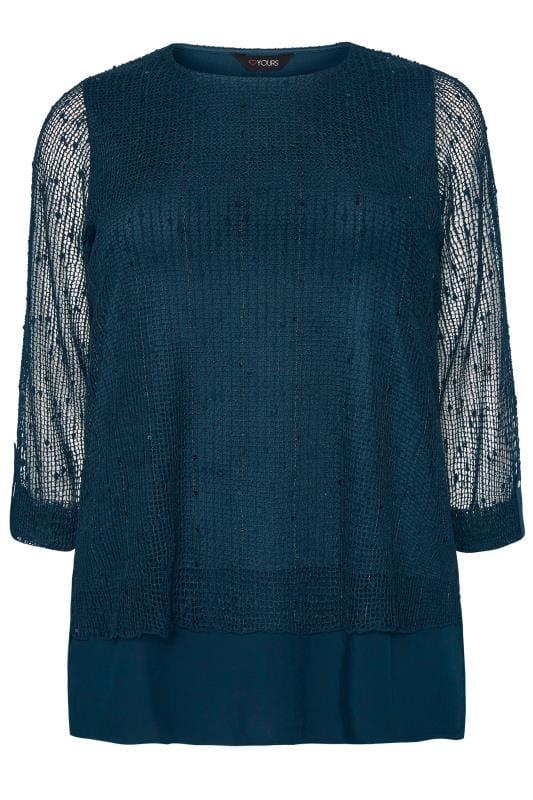 Navy Layered Crochet Top
