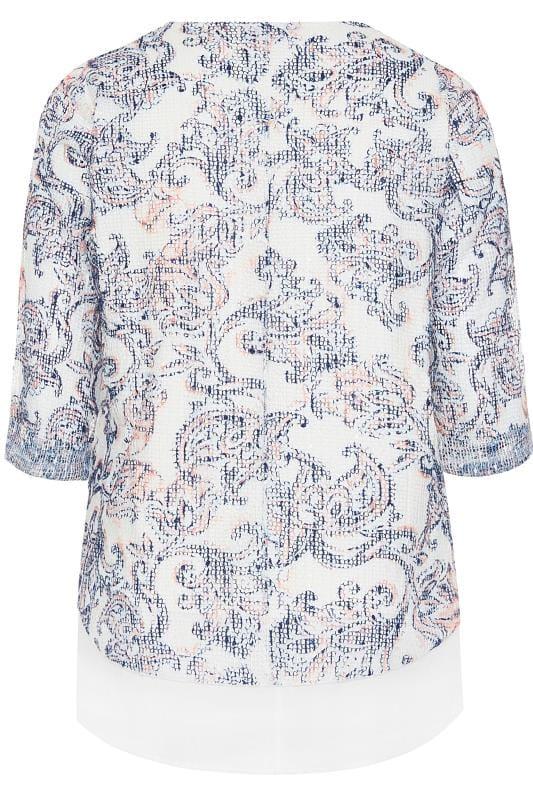 White Paisley Layered Crochet Top