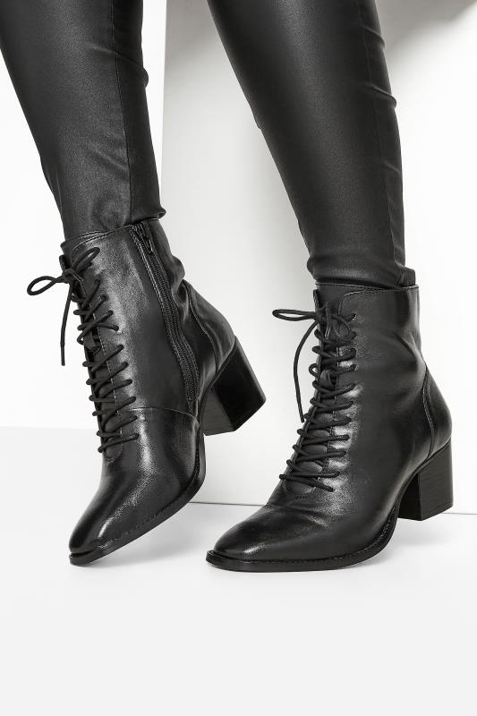 Plus Size  Black Leather Lace Up Heeled Boots In Extra Wide Fit