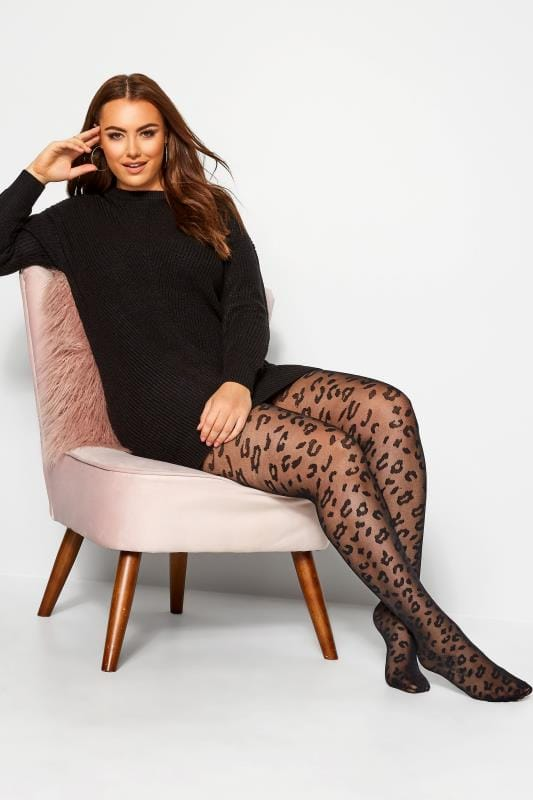 Plus Size Tights Black Leopard Pattern Tights