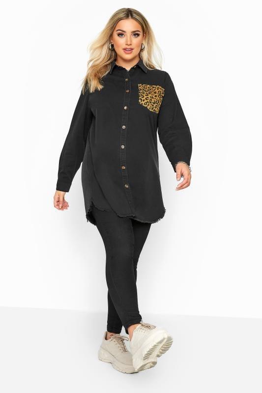 Black Denim Leopard Pocket Shirt