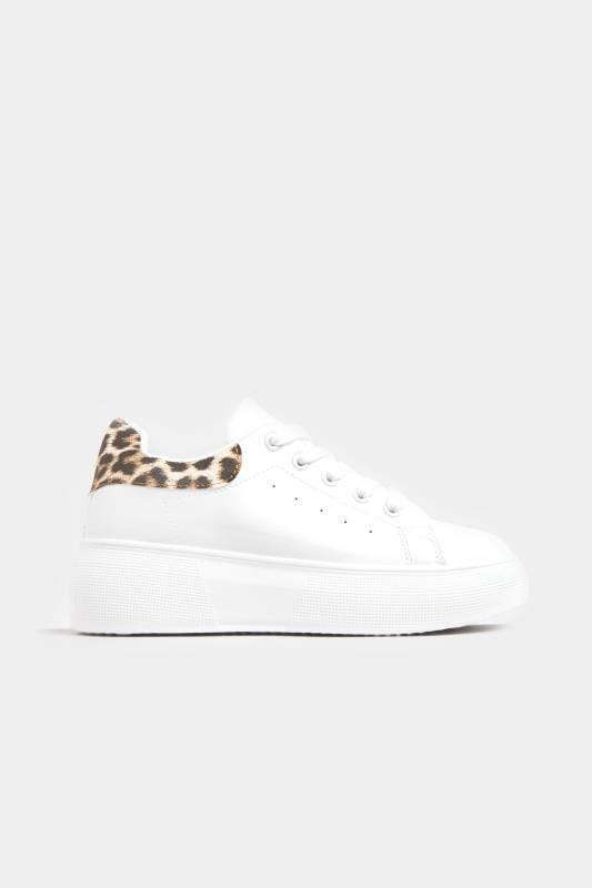 White Leopard Print Chunky Trainers