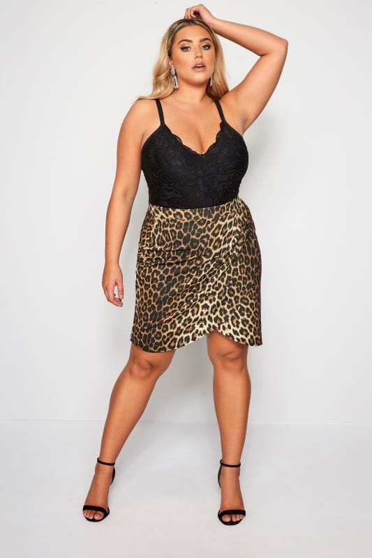 Plus Size Elasticated Waist Skirts LIMITED COLLECTION Leopard Wrap Scuba Skirt