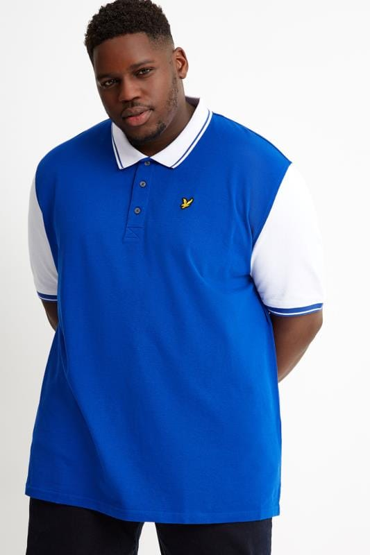Plus Size Polo Shirts LYLE & SCOTT Cobalt Blue & White Tipped Polo Shirt