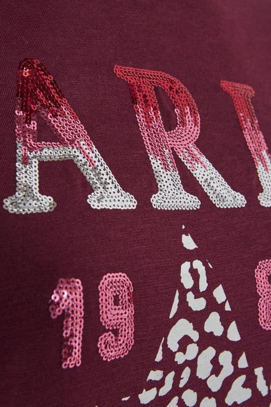 Burgundy 'Paris' Sequin Slogan Hoodie