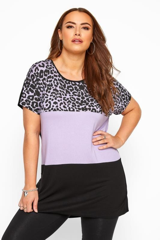 Plus Size T-Shirts Lilac Animal Print Colour Block Top