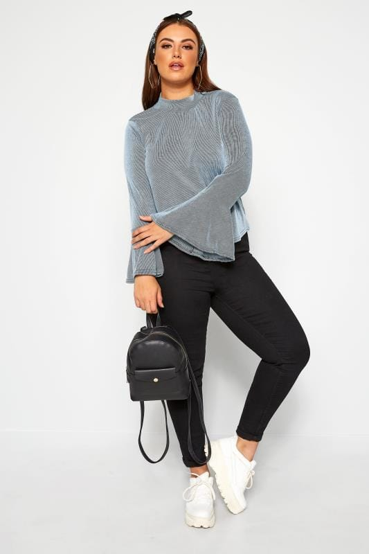 Plus Size Jersey Tops LIMITED COLLECTION Baby Blue Ribbed Flare Long Sleeve Top