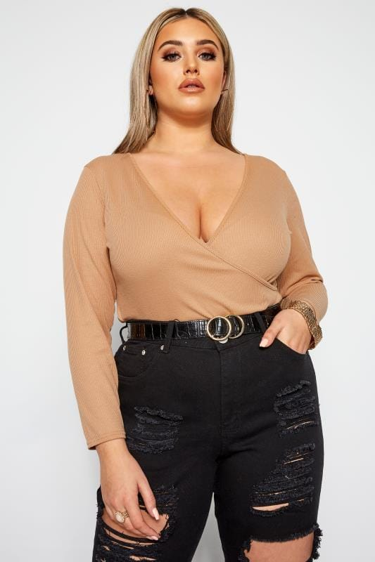 Plus Size Wrap Tops LIMITED COLLECTION Camel Ribbed Wrap Top