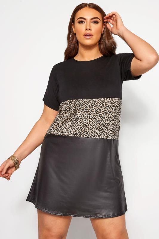 Plus Size Black Dresses LIMITED COLLECTION Black Animal Block T-Shirt Dress