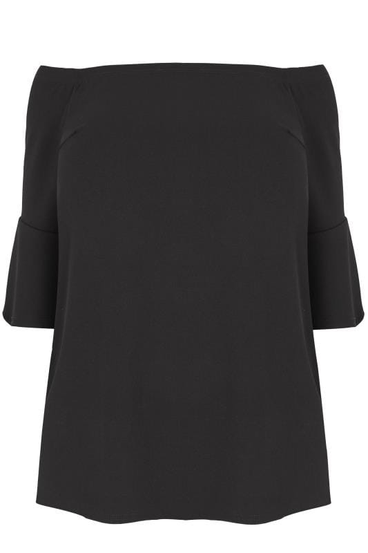 LIMITED COLLECTION Black Bardot Top With Flute Sleeves