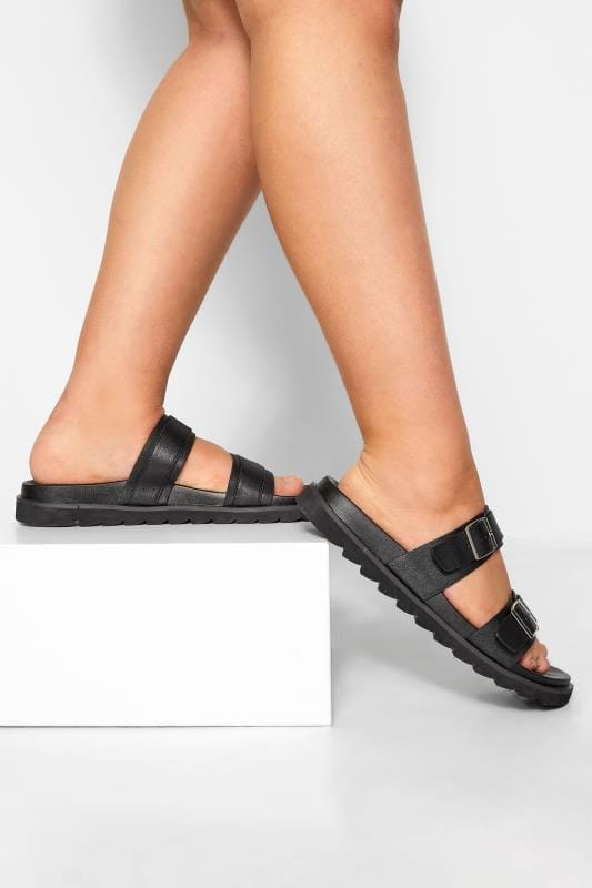 LIMITED COLLECTION Black Buckle Sliders In Extra Wide Fit